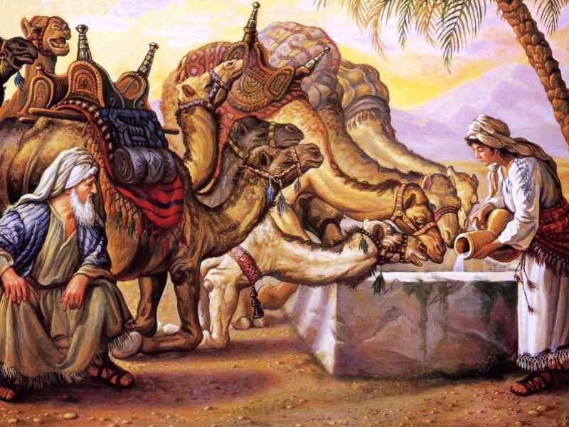 Ribka dan Eliezer di dekat sumur.